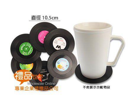 復古黑膠唱盤杯墊(6入)