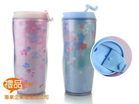 粉彩櫻花雙層曲線杯