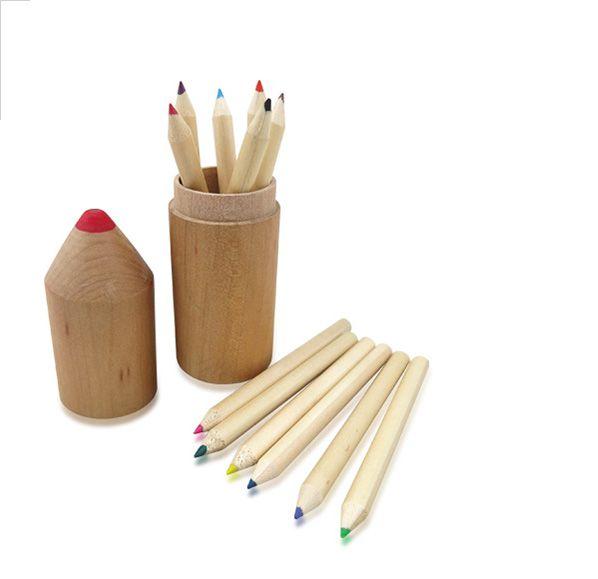 木鉛筆筒12色鉛筆