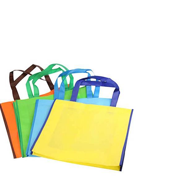 配色橫式購物袋