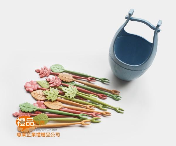 環保小麥水果叉(木桶)