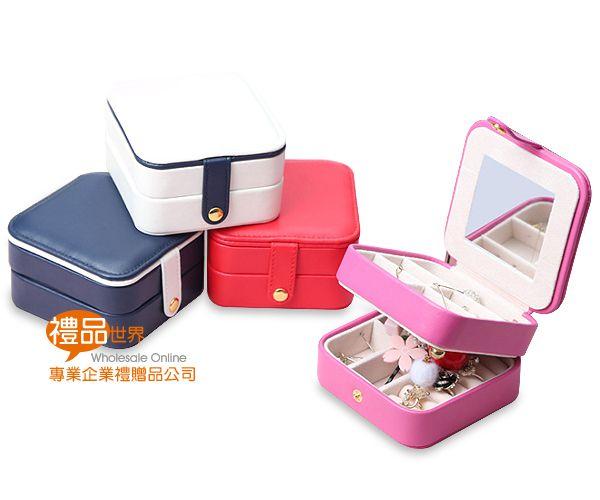 三層皮革方型首飾盒
