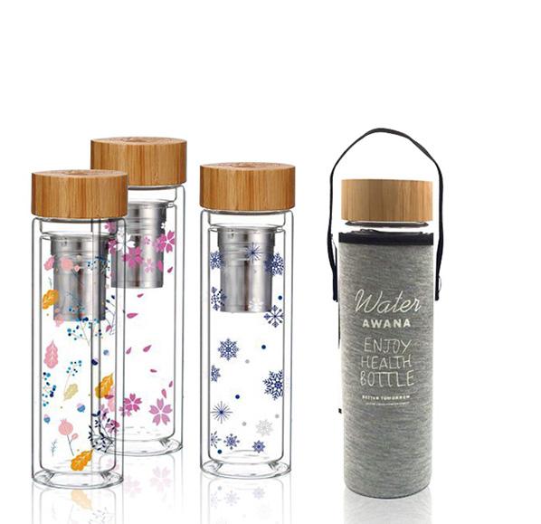 竹蓋雙層玻璃隨身瓶