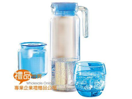 樂美雅凝彩冰藍1壺4杯2儲物罐組