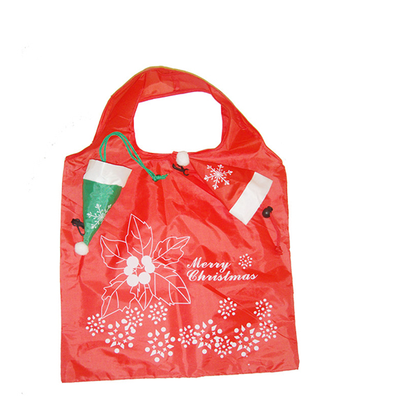 聖誕帽折疊購物袋