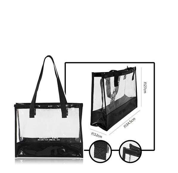 客製化透明拼接提袋34.5x27x12cm
