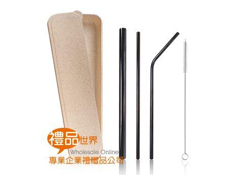 環保黑色不鏽鋼吸管4入組(小麥盒)