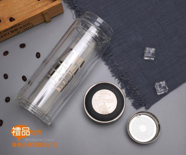 寬口濾網雙層玻璃杯500ml