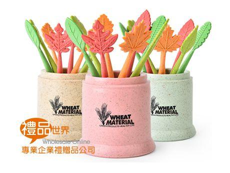 環保小麥水果叉(圓桶)