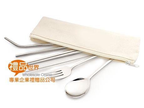 環保不鏽鋼吸管餐具6入組(帆布袋)