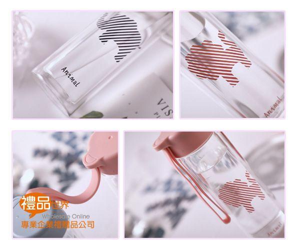 動物圖案玻璃瓶360ml