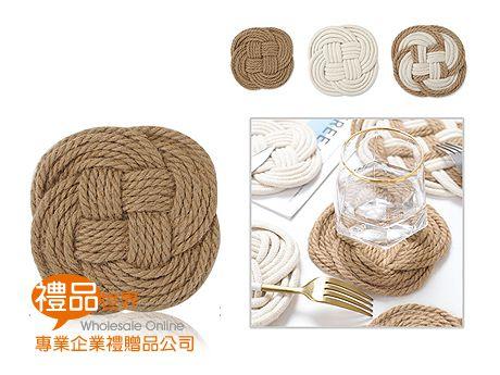 中國結造型棉麻杯墊(圓)
