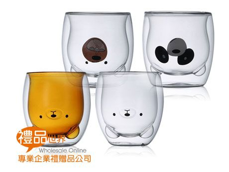 卡通雙層玻璃杯300ml