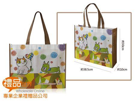 客製化彩色覆膜購物袋38.5x30x10cm