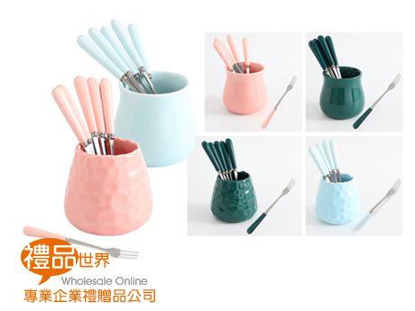 時尚水果叉勺(銀)