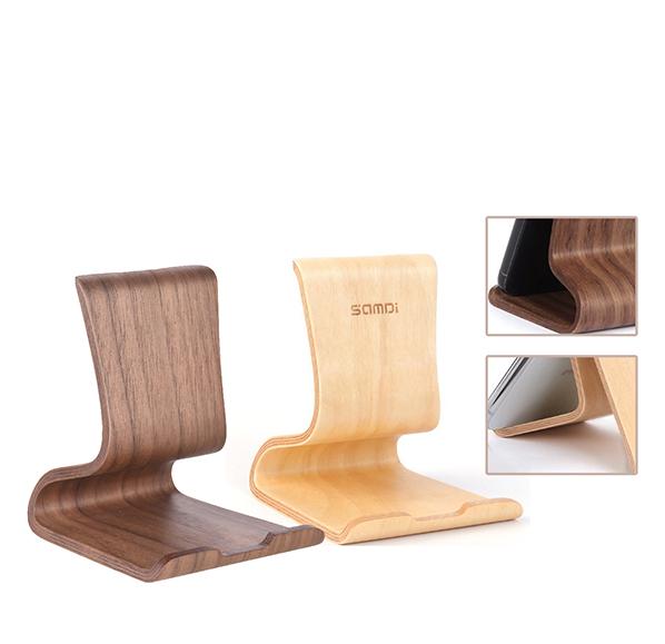 曲面木質手機支架