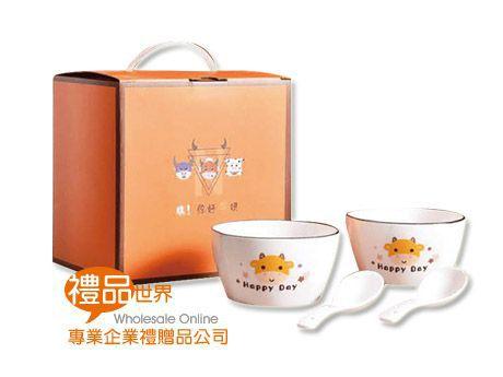 可愛小牛4件式餐碗禮盒