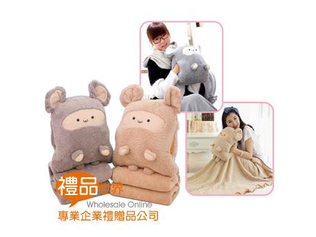 哈哈鼠暖手抱枕毯