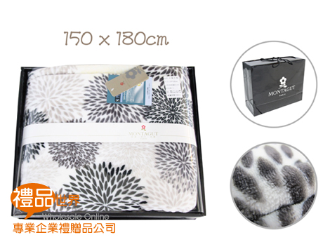 黑色花漾絨毯150x180cm