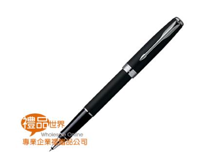 派克新商籟黑桿白夾鋼珠筆